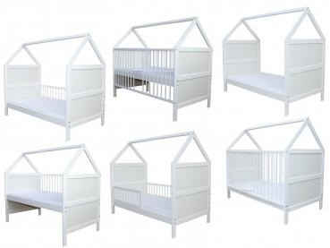 Babybett Kinderbett Juniorbett Bett Haus 140x70 cm mit Matratze umbaubar  massiv weiss 0 bis 6 Jahre