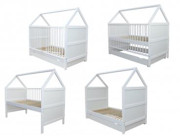 micoland babybett kinderbett juniorbett bett haus 140x70. Black Bedroom Furniture Sets. Home Design Ideas