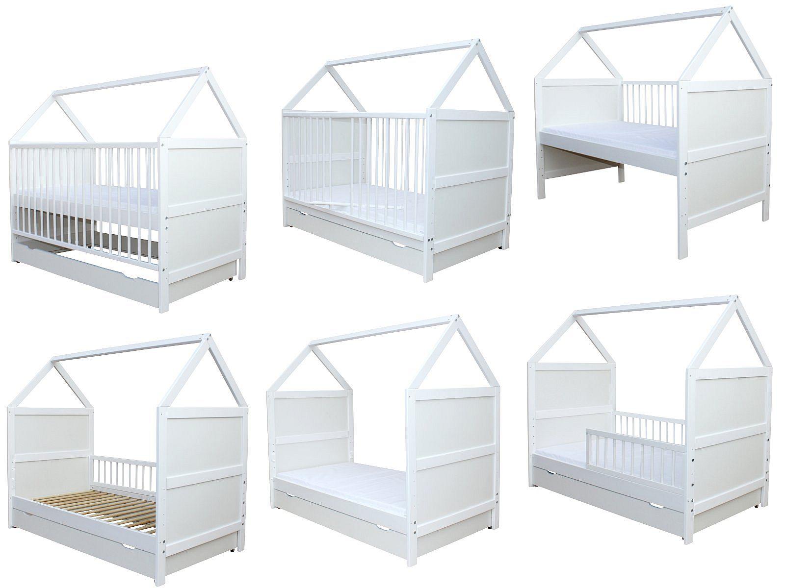 micoland babybett kinderbett juniorbett bett haus 140x70 cm mit matratze und schublade. Black Bedroom Furniture Sets. Home Design Ideas