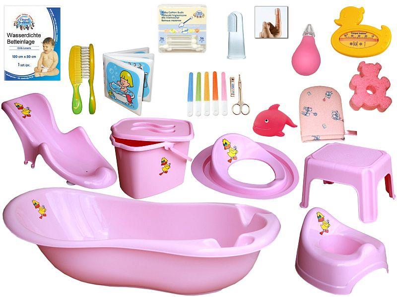 micoland badewanne set 20 teilig komplette erstausstattung rosa. Black Bedroom Furniture Sets. Home Design Ideas